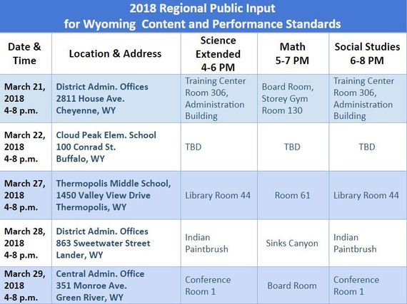 Table showing public input meetings for standards revisions