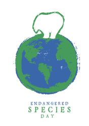 Endangered Species Logo of Polar Bear on top of World