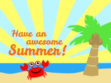 Awesome Summer - Cartoon Crab and Palm Tree