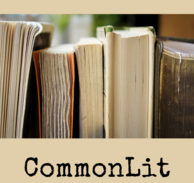 Photograph of the side of books up close with the words Common Lit beneath