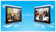 Image of two computer monitors with pictures of classroom students speaking to each other