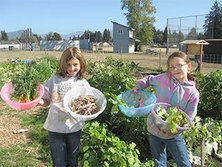 Two children holding vegetables in garden