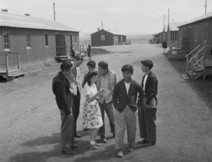 Teenagers gathered at Heart Mountain Relocation Center in the 1940s