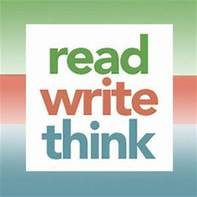Logo that says Read Write Think with the words stacked atop each other