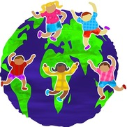 earth with students dancing