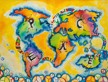 Children's art of world map