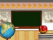 Chalkboard and globe
