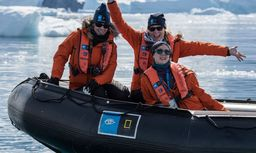 Three teachers on a raft in the Antarctic