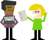 People holding a computer and a piece of paper