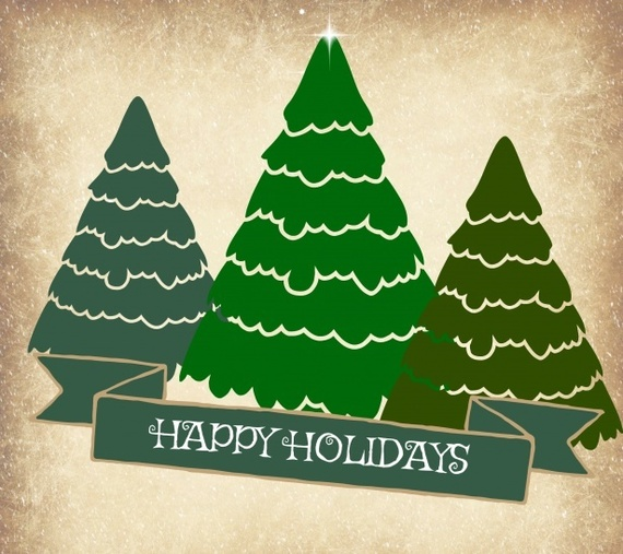 Happy holidays with pine trees