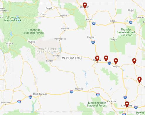 Map of Adoption Consultant's Visits in Dec. 2018