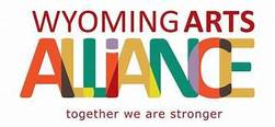 "Wyoming Arts Alliance logo which includes the phrase ""together we are stronger"""