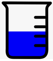 cartoon image of a partially full beaker