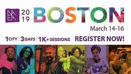 Colorful logo with several artists and the words NAEA Boston 2019