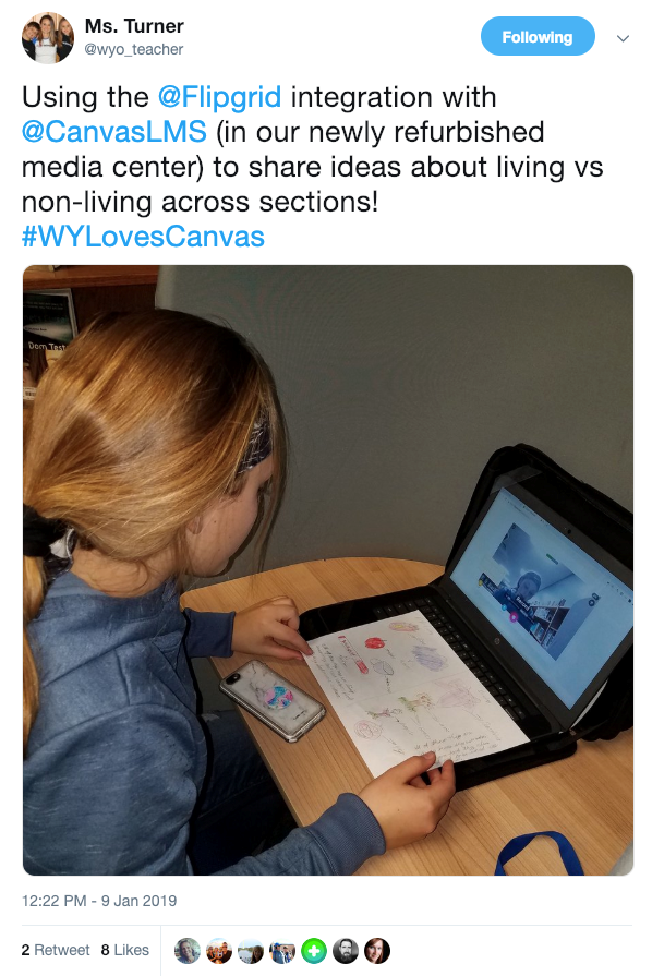 Using the @Flipgrid integration with @CanvasLMS (in our newly refurbished media center) to share ideas about living vs non-living across sections!