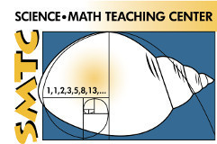 Logo for University of Wyoming Science and Math Teaching Center featuring a logarithmic spiral superimposed on a drawing of a seashell