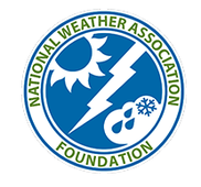 National Weather Association Foundation logo with cartoon images of lightning, rain drops, a snowflake and the sun