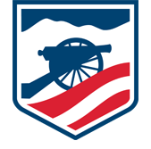 Logo of American Battlefield Trust featuring a cannon with mountains in the background and a U.S. flag in foreground