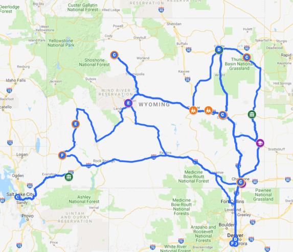 Wyoming Road Trip Map