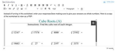 Math Quiz Example