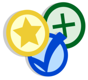Yellow start, blue check, and green plus symbol