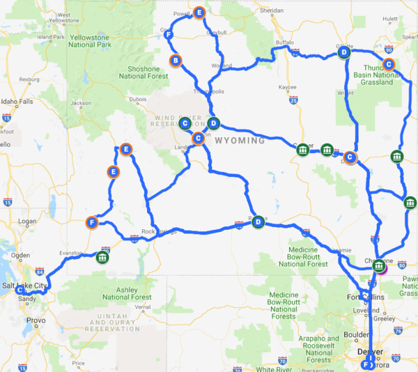Map of Wyoming showing David's travels