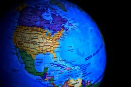 Photo of globe with the U.S. highlighted