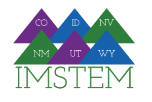 I.M.-STEM logo depicting six mountain peaks with abbreviations for Idaho, Nevada, Utah, Colorado, New Mexico and Wyoming
