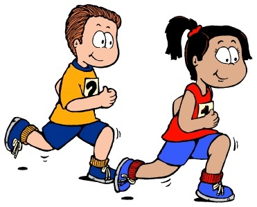 Cartoon image of boy and girl in gym clothes running