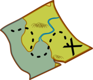 Cartoon treasure map with X marks the spot
