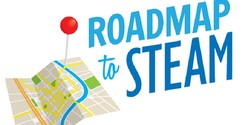 Logo that reads Roadmap to STEAM with a cartoon picture of a slightly folded map and a large pushpin