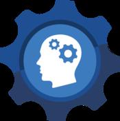 Head with gears as the brain