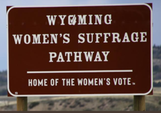 Wyoming women's suffrage highway sign