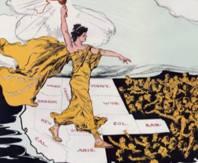 Cartoon from the 20th century depicting a woman holding a torch and walking across the United States with women reaching out to her