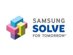 Logo of a 3-d puzzle and the words Samsung Solve for Tomorrow