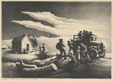 "Thomas Hart Benton painting, ""The Departure of the Joads"" showing a family leaving a farm in the 1930s in their auto"