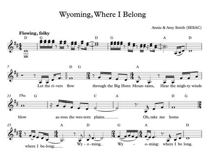 Sheet music for the song Wyoming by Annie and Amy Smith