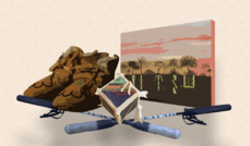 Depiction of moccasins, Native artifacts and a painting