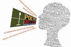 Logo for Poetry Out Load depicting a person's head formed by words and speaking forcefully