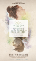 "Logo for Wyoming Arts Summit with theme, ""Equity in the Arts,"" depicting profile of a woman's head reflected by an upside-down man's head below it"