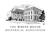 Black and white sketch of the White House above the words White House Historical Association