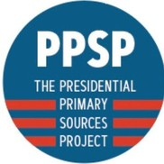 Red, white and blue logo for Presidential Primary Sources Project