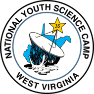 Logo of National Youth Science Camp which includes a drawing of a satellite dish