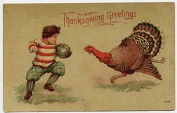 Image from 1900 postcard of a boy playing with a ball and a turkey