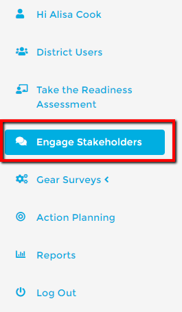 engage stakeholders menu icon on the future ready dashboard