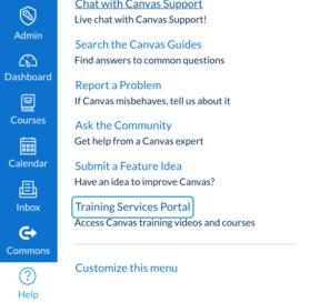 A screenshot of the canvas dashboard showing the help menu