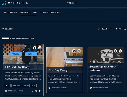 Screenshot of the Training portal