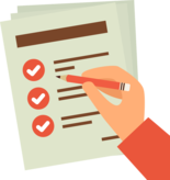 A document with checkboxes
