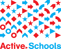 Active Schools logo with arrows and other movement symbols