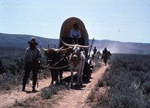 Oregon Trail covered wagons and horsemen
